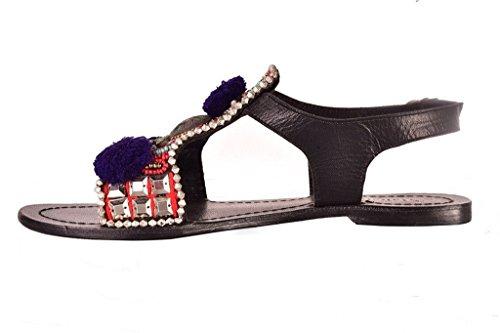 Maharanis Mujer Moda Casual Vestir Cortar Fuera Zapatos Verano Dar la vuelta Fracaso Cuero Plano Sandalias Multicolor