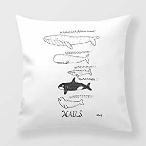 Refiring Cushion Throw Pillow Funny Whales Home Pillow Cover