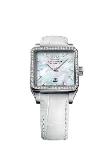 Louis Erard Women's 20700SE04.BAV10 Emotion Square Automatic Mother of Pearl Alligater Leather Diamond Watch