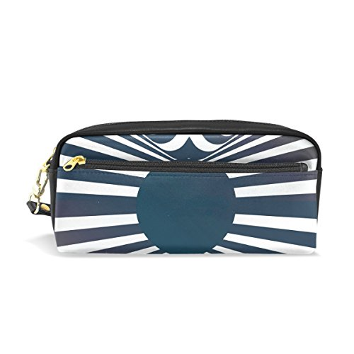 Zebra Stripe Leather Student Pencil Case Cosmetic Bag Pen Makeup Pouch for Girl Boy