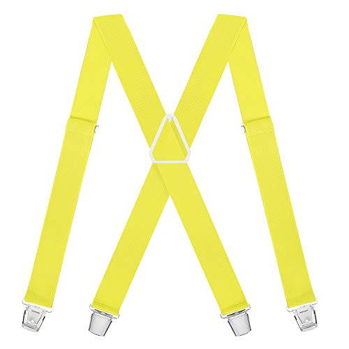 HDE X-Back Suspenders for Men Adjustable Clip-On Elastic Shoulder Strap Braces (Yellow, 42 inches) -