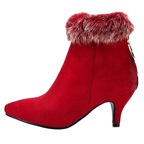 TAOFFEN Red Zipper Bootie Women's Boots rwqFrZR