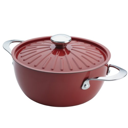 Rachael Ray Cucina Hard Porcelain Enamel Nonstick Covered Round Casserole, 4.5-Quart, Cranberry Red by Rachael Ray