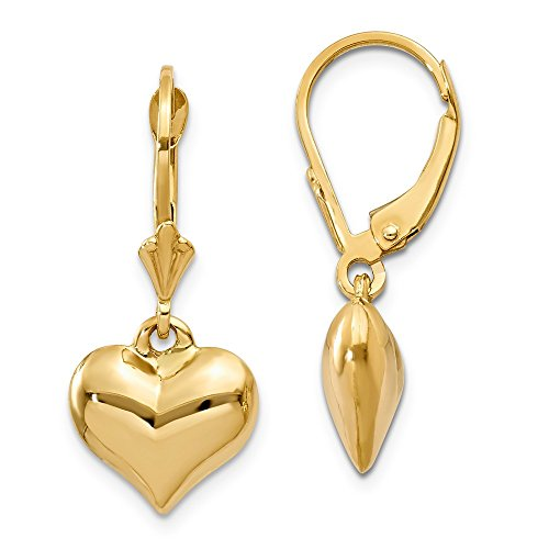 14k Yellow Gold Puff Heart Leverback Earrings Lever Back Drop Dangle Love Fine Jewelry Gifts For Women For ()