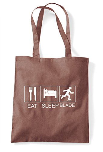 Rollarblade Eat Hobby Sleep Tote Tiles Funny Shopper Bag Chestnut Activity RB4Axg