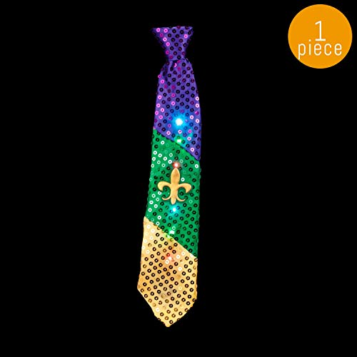 Lumistick 16 Inch Light-Up Mardi Gras Necktie - Ultra Bright Glowing LED Neckwear - Flashing Fleur de Lis Pattern Tie - Multicolor Vibrant Flashlights Tie (1 - Logo Necktie 1