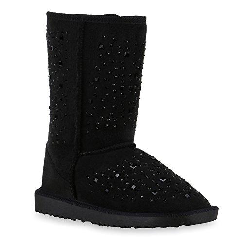 Damen Schlupfstiefel Warm gefütterte Stiefel Prints Schuhe Schleifen Nieten Stiefeletten Strass Winterschuhe Boots Flandell Schwarz Strassteine