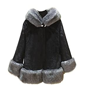 WensLTD Women's Winter Faux Fur Hooded Plus Size Long Coat Jacket (M, Black)