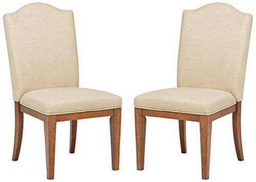 Stone Beam Parson Armless Dining Room Chairs, 40 Inch Height, Set of 2, Beige