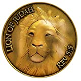 Lion of Judah, Man of God, Be Strong and Courageous, Antique Gold Plated, Challenge Coin, Joshua 1:10