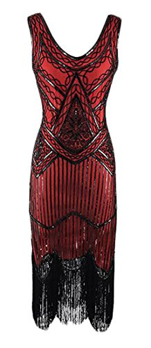 Latin Fringe Short Sexy Red Dress Glitter Dance Cromoncent Women Slim Sequin Fqx0wv8IY