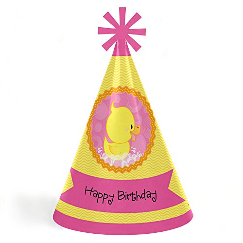 Big Dot of Happiness Pink Ducky Duck - Cone Happy Birthday Party Hats for Kids and Adults - Set of 8 (Standard Size) by Big Dot of Happiness