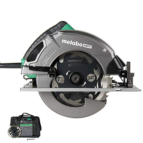 "Metabo HPT 7-1/4"" Circular Saw Kit, 6,000 Rpm, 15-Amp Motor, Integrated Dust Blower, 24T Premium Framing/Ripping Blade, Single Handed Bevel Adjustment (C7SB3)"
