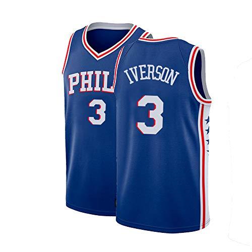 Tyidnas Mens Iverson Jersey Philadelphia Adult 3 Allen Basketball Sizes Blue (Blue, Medium)