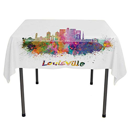 Flyerer Kentucky Table Cover Watercolor Paint Splashes Grunge City Silhouettes Rainbow Louisville Lettering Multicolor tablecloths Party Decorations Rectangular Tablecloth 52 by 70 inch ()