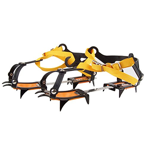 WINGONEER 10 Teeth Comes with snowboard Welding Chain Stainless Steel Crampons Outdoor Ski Ice Hiking Climbing Adjustable length