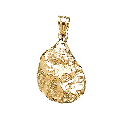 14k Yellow Gold Nautical Charm, Oyster Shell, 2-D, Textured & High Polish ()