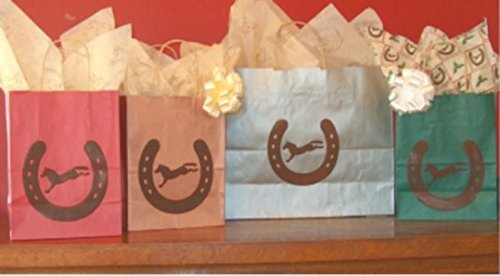 Equestrian Day Bag (Horse Shoe & Bucking Horse Gift Bags - 6 Medium Silver Gift Bags)