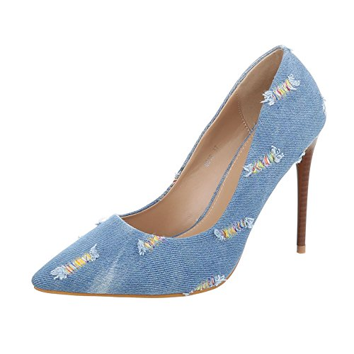 Ital-Design Women's Court Shoes Stiletto High Heels at Light Blue eOYaD1fGOJ