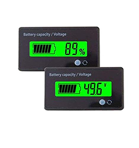 Multifunctional 48V LCD Battery Capacity Monitor Gauge Meter for Lead-Acid Battery Motorcycle Golf Cart Car, Alarm Function
