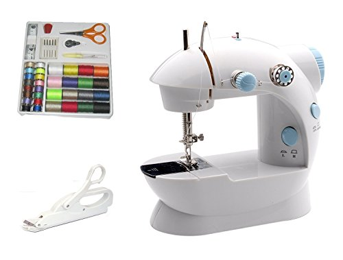 Michley Lil' Sew & Sew LSS-202 Combo Mini Sewing Machine, Electrical Scissors and 42-Piece Sewing Kit (Case Bobbin Threading)
