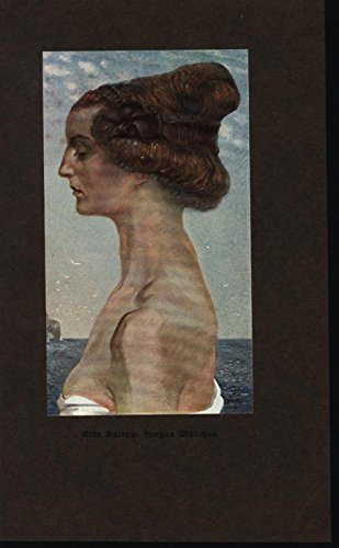 Youthful Beauty Seaside Scenery Elegant Hair Style 1913 antique color art print