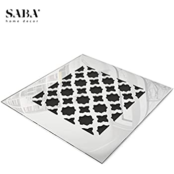 """SABA Fiberglass Decorative Grille Vent Return Register Easy Air Flow Venetian Style Cover 6 inch x 6 inch (8"""" x 8"""" Overall). For Walls and Ceilings (not for Floor use), Mirror Finish"""