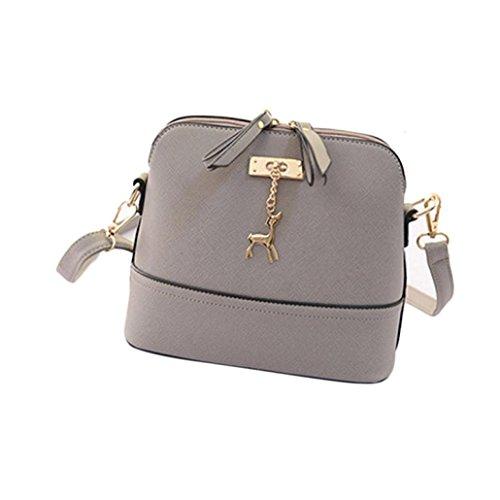 Handbag Vintage,Clearance!AgrinTol New Women Messenger Bags Vintage Small Shell Leather Handbag Casual Bag (Gray)