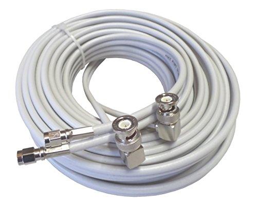 15m hochwertiges low loss TWIN-Koax-Antennenkabel für Novero (Funkwerk) Dabendorf LTE 800 1800 2600 MIMO Antenne in smartem hellgrau, 2xBNC-Winkelstecker – 2xSMA-Stecker Brennpunkt SRL