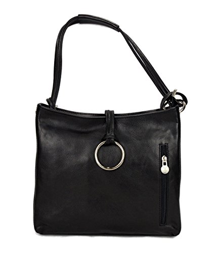 Leather ladies handbag black shoulder bag luxury bag women handbag made in Italy women handbag by ItalianHandbags