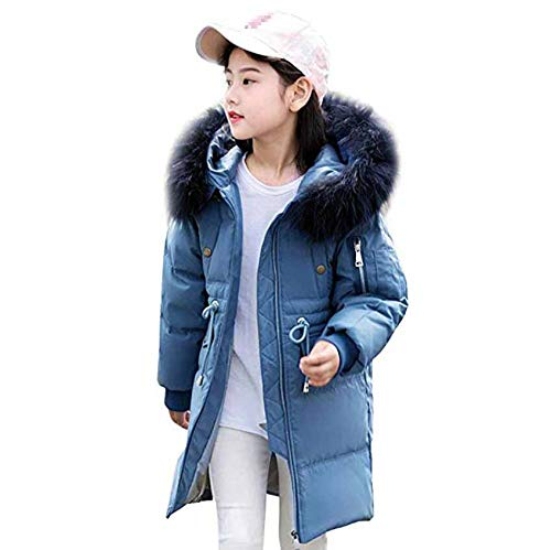 bleu 160cm GXYCP Manteau d'hiver à Capuche en Fourrure Légère pour Enfant en Fourrure Duvet d'hiver,vert,150Cm