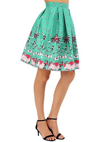 FISOUL Pattern5 Floral Patineuse Femme Line Vintage Midi au Plis Rtro Style Imprime A Genou Jupe rrBZUO