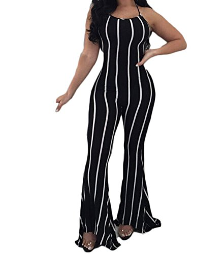 Yoawdats Women's Stripe Suspender Backless Bodycon Leotard Flare Pants Jumpsuits (S, (Flare Pant)