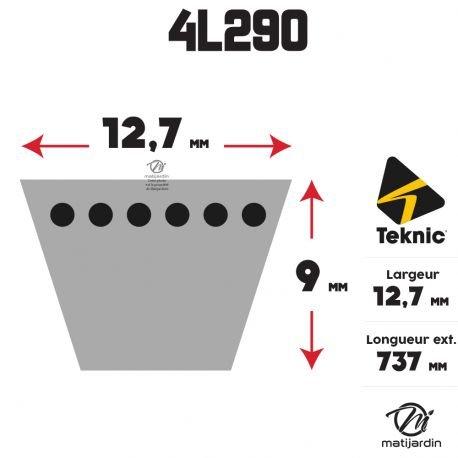 Courroie tondeuse 4L290 Teknic Kevlar Trap/ézo/ïdale Pi/èce neuve 12,7 mm x 737 mm