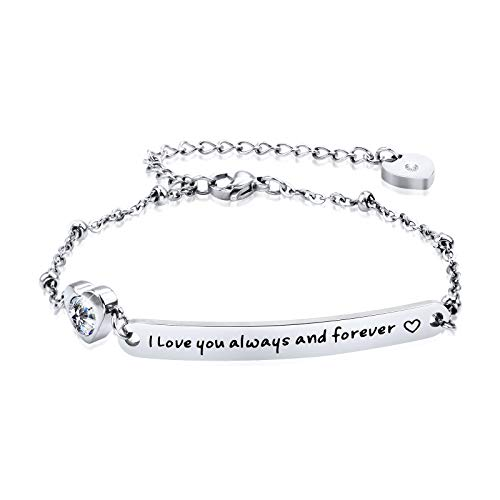 Dec.bells Anklet Silver Love Bracelets Women Ladies Relationship Bracelet with Small Hearts I Love You Always and Forever Stainless Steel Jewelry (Love Forever-SI)