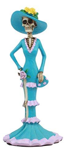 Ebros Elite Aristocrat Blue Senorita Ballroom Skeleton Lady Statue Day Of The Dead Night Gown Sexy Sugar Skull Lady Figurine]()