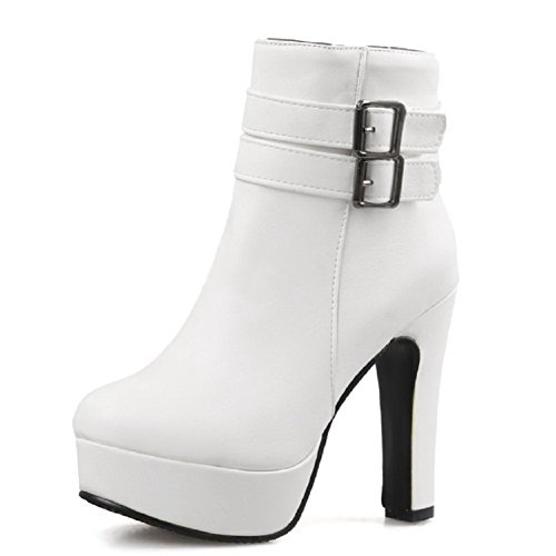 Toe Closed Allhqfashion White Pu High Metal Round Heels Women's Zipper with Solid Boots qggXTYf