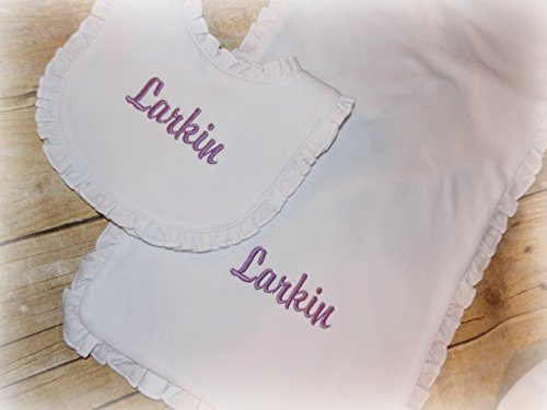 Embroider personalized ruffled baby bib and burp gift set (Initial Bib Baby)