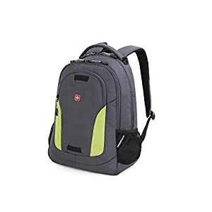 Swiss Gear SA6907 Laptop Computer Tablet Notebook Backpack - for School, Travel, Carry On Luggage, Women, Men, Student, Professional Use – Grey/Green, 19 Inches