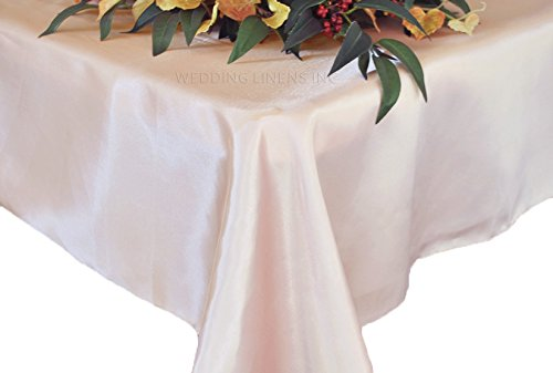 Wedding Linens Inc. 90″ x 156″ Rectangular Seamless satin tablecloths Table Cover Linens for Restaurant Kitchen Dining Wedding Party Banquet Events – Blush Pink