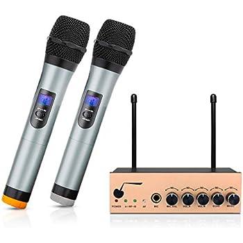 archeer vhf bluetooth wireless microphone system dual channel handheld karaoke
