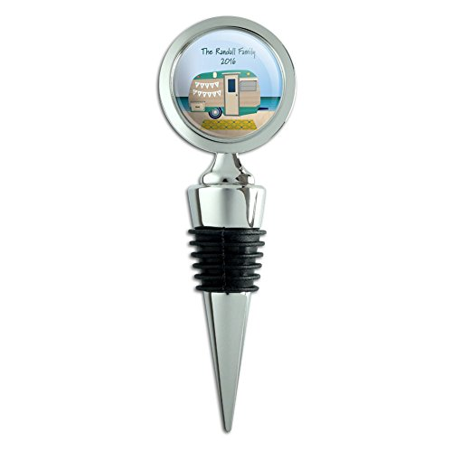 Graphics and More Personalized Custom Happy Camper Trailer Beach Camping Family Wine Bottle Stopper (Glass Wine Stopper Monogram)