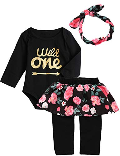 Baby Girls Floral Outfit Set Wild One 3Pcs Vest Skirt with Headband (6-12 Months, Black02 Long)