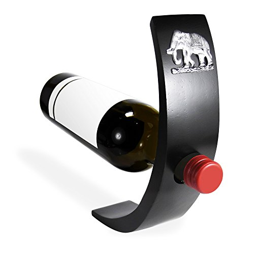 Elephant Mango Wood Balancing Wine Bottle Holder Pewter Embellished
