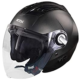Steelbird SBA-3 R2K Classic Open Face Helmet (Medium 580 MM, Black with Plain Visor)