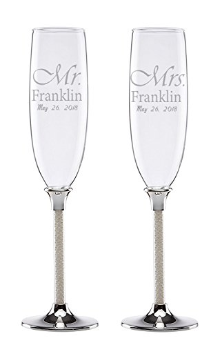 Lenox Personalized Engraved Jubilee Pearl Toasting Flutes, Set of 2 ()