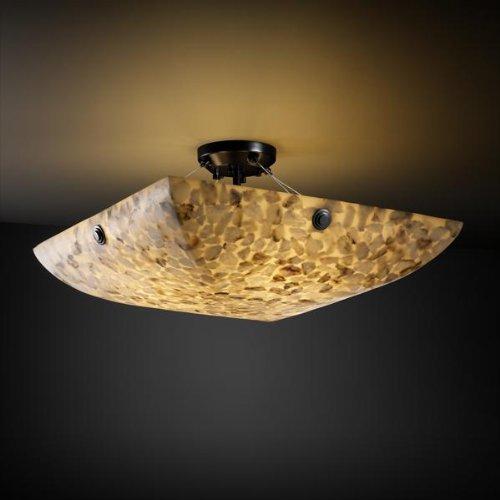 Justice Design Group ALR-9652 - Finials 24'' Semi-Flush with Concentric Circles Finials - Square Bowl Shade - Matte Black (24' Bowl Shade)