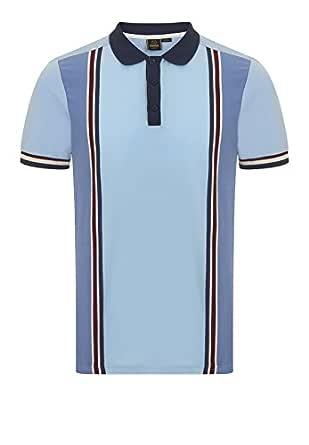 Merc of London Rogan, Vertical Stripe Print Polo, Azul (Cool), XS ...