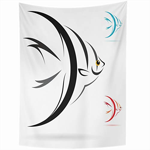 - Ahawoso Tapestry 60 x 90 Inches Aquatic Silver Tropical Angel Fish On White Wildlife Sea Nature Yellow Angelfish Marine Salt Water Wall Hanging Home Decor Tapestries for Living Room Bedroom Dorm