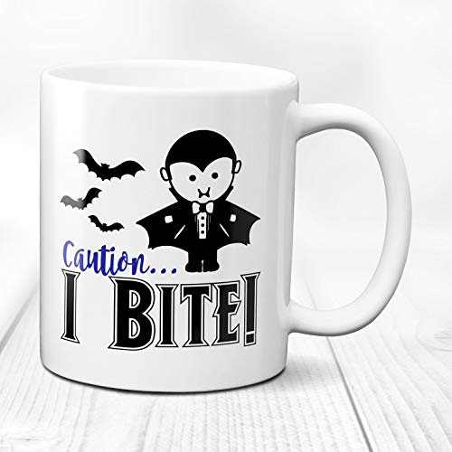Caution/I Bite/ghoul gang mug/boy Halloween mug/Halloween mug kids/Halloween zombie mug/scary monsters mug/Halloween saying/ghouls/ ()